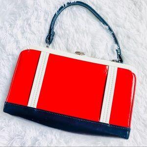 VINTAGE • Red + Navy Shoulder Arm Bag w/ Clasp.